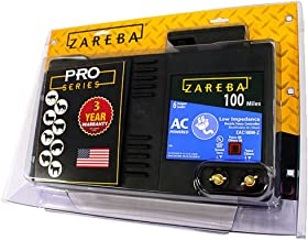 Zareba 100 Mile AC Powered Low Impedance Electric Fence Charger; Energizes up To 100 miles of Fence Under Optimal Conditions; Works in Heavy Weed Conditions; Include Storm Guard Lightning Protection