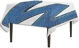 kangkaishi Letter W Washable Tablecloth Symmetrical Latin Letter Capital W with Blue Jean Pattern Typography Design Print Dinner Picnic Home Decor W36.2 x L36.4 Inch Blue Yellow