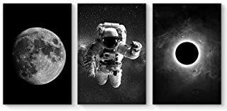 SIGNFORD 3 Panel Canvas Wall Art Astronaut Grand Eclipse Moon Kids Canvas Painting Wall Decor for Living Room Framed Home Decorations - 24