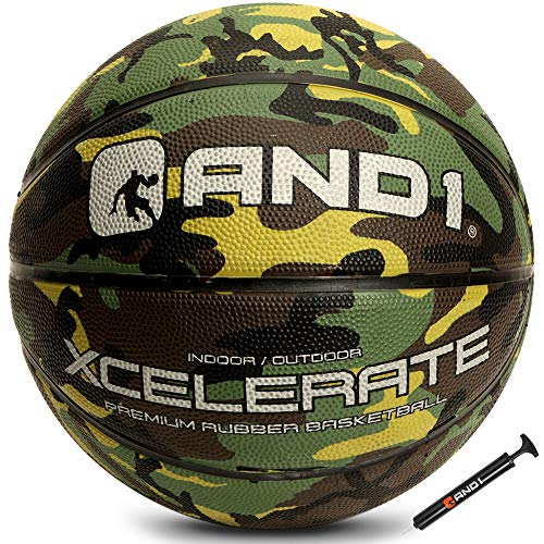 """AND1 Xcelerate Rubber Basketball Deflated w/ Pump Included: Official Regulation Size 7 295"""" Streetball Made for Indoor/Outdoor Basketball Games Green Camo"""