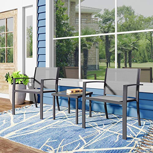 Joolihome Garden Furniture Set, Glass Coffee Table with Textilene Armchairs, Indoor Outdoor Dining Table Chair Sofa Sets for Patio, Backyard, Poolside, Lounge, Balcony, Terrace (2 Seater, Grey)