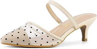 Allegra K Women's Point Toe Polka Dot Kitten Heel Mesh Mules