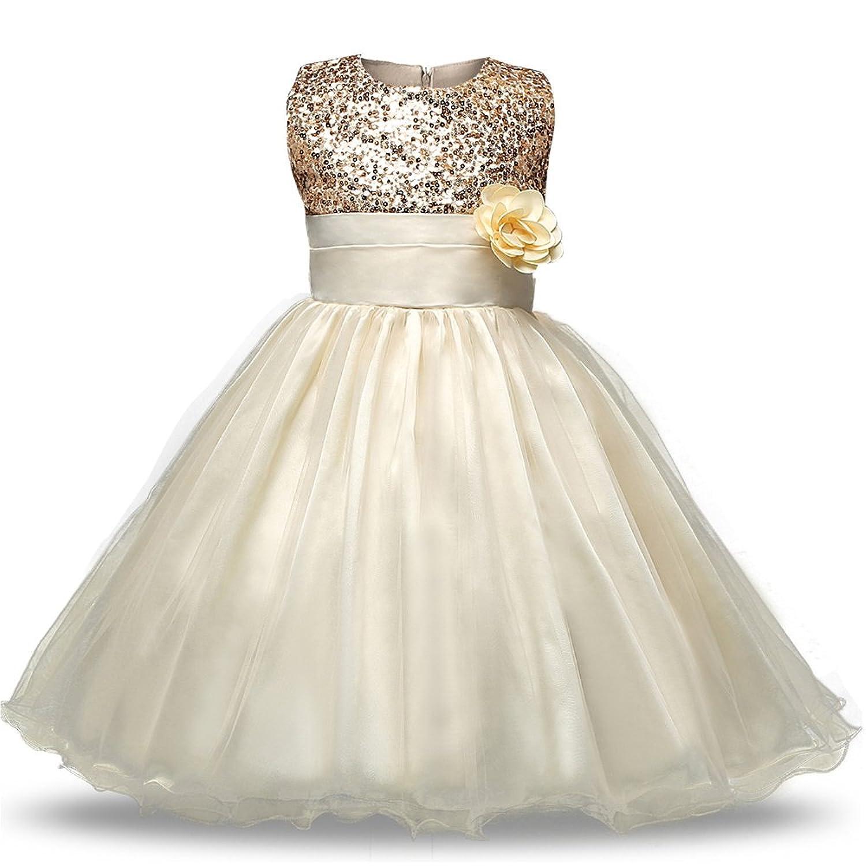 KINDOYO ガールズ 子供ドレス キッズドレス ワンピース 女の子 女児 ノースリーブ プリンセスドレス