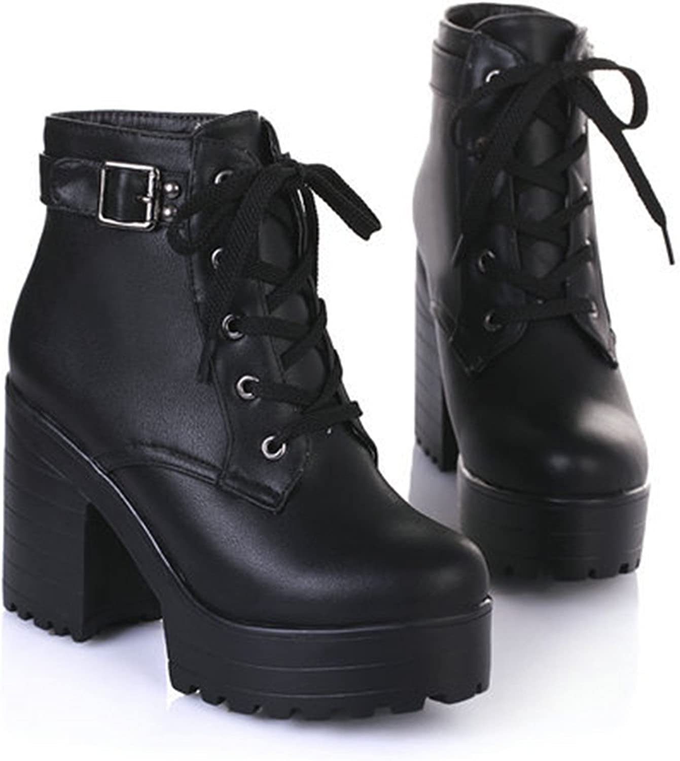 Dahanyi Stylish New Women Ankle Boots Round Toe Platform Buckle Square High Boots for Women Fashion Winter Punk shoes Size 34-43