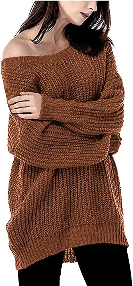 ARJOSA Women's Pullover Sweaters Long Sleeve Fall Oversized Chunky Cable Knit Sweater Dress Loose Tops