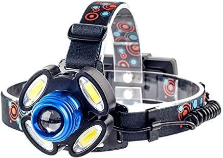 ZLHW LED Head Torch Rechargeable,1*T6+4*COB LED Long-Range Zoom Headlights 4-Speed Mode 10W Outdoor Glare Charging Headlights Head-Mounted Flashlights
