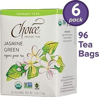 Choice Organic Teas Gourmet Green Tea, 6 Boxes of 16 (96 Tea Bags), Jasmine Green