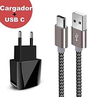 Zeuste-Quick Cargador Móvil con 2 Puertos USB Compatible con la mayoría de Dispositivos móviles,2M Gris Cable USB Tipo C para Samsung Galaxy S9/S8+/Nota 8,conmutador Nintendo,Sony Xperia XZ,Huawei P9