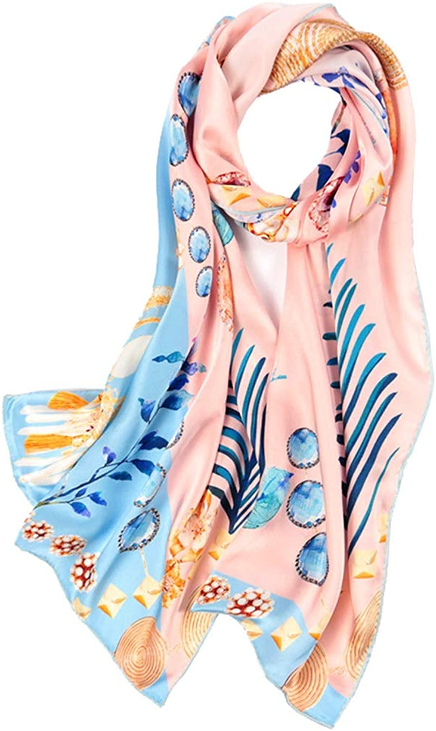 CEFULTY Silk Long Scarf Satin Silky Soft Long Scarf Office Air Conditioner Shawl (color   A, Size   175CMx52CM)