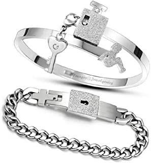 Jewelgenics Key and Lock Silver Stainless Steel Cubic Zirconia Couple's Bracelet for Unisex Adult (Silver)