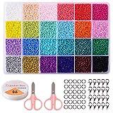 Cuentas para Collares Cuentas de Colores 2 mm Bolitas para Hacer Collares Pulseras Regalo para Niños 24 Colores Brillantes (2mm Perlas de Vidrio)