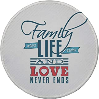 Non-Slip Rubber Round Mouse Pad,Family,Vintage Greeting Card Inspired Design with a Quote About Family and Love,Black Light Blue Red,11.8