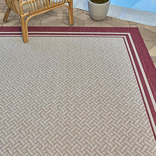 Gertmenian 21360 Outdoor Rug Freedom Collection Bordered Theme Smart Care Deck Patio Carpet 5x7 Standard, Border Red