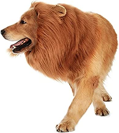 SEALEN Pet Dog and Cat Costumes, Lion Mane Wig Dress up with Ears for Pet Cat Dog Kitty, Adjustable Fancy Lion Hair Dog Clothes Dress for Thanksgiving Day Christmas Holiday Party (Dog Lion)