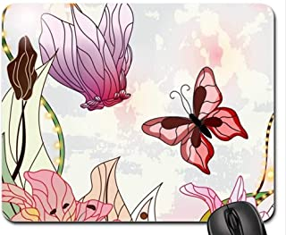 Beautiful Flower Gaming Mouse pad,Butterfly Bonus Mouse Pad, Mousepad