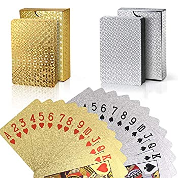 Joyoldelf 2 Decks of Playing Cards 24K Foil Waterproof Poker with Gift Box – Classic Magic Tricks Tool for Party and Game 1 Gold + 1 Silver