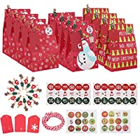🎄 Qu'est-ce que vous recevrez : Y compris 30 sacs-cadeaux en papier des fêtes, 24 Autocollants(1 - 24 chiffres), 36autocollants style Noël, 24 étiquettes de cadeau de Noël, 24 pinces en bois et un paquet de corde de chanvre, le tout dans un paquet re...