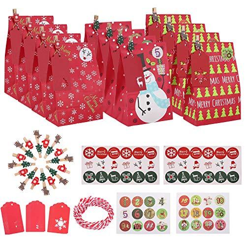 Ulikey 30 pcs Calendario de Adviento Navidad, Bolsa de Regalo, Papel Regalo Bolsas con Pegatinas, Bolsas para Regalos de Boda Bolsas de Papel Kraft para Niños Suministros Fiesta de Cumpleaños (A)