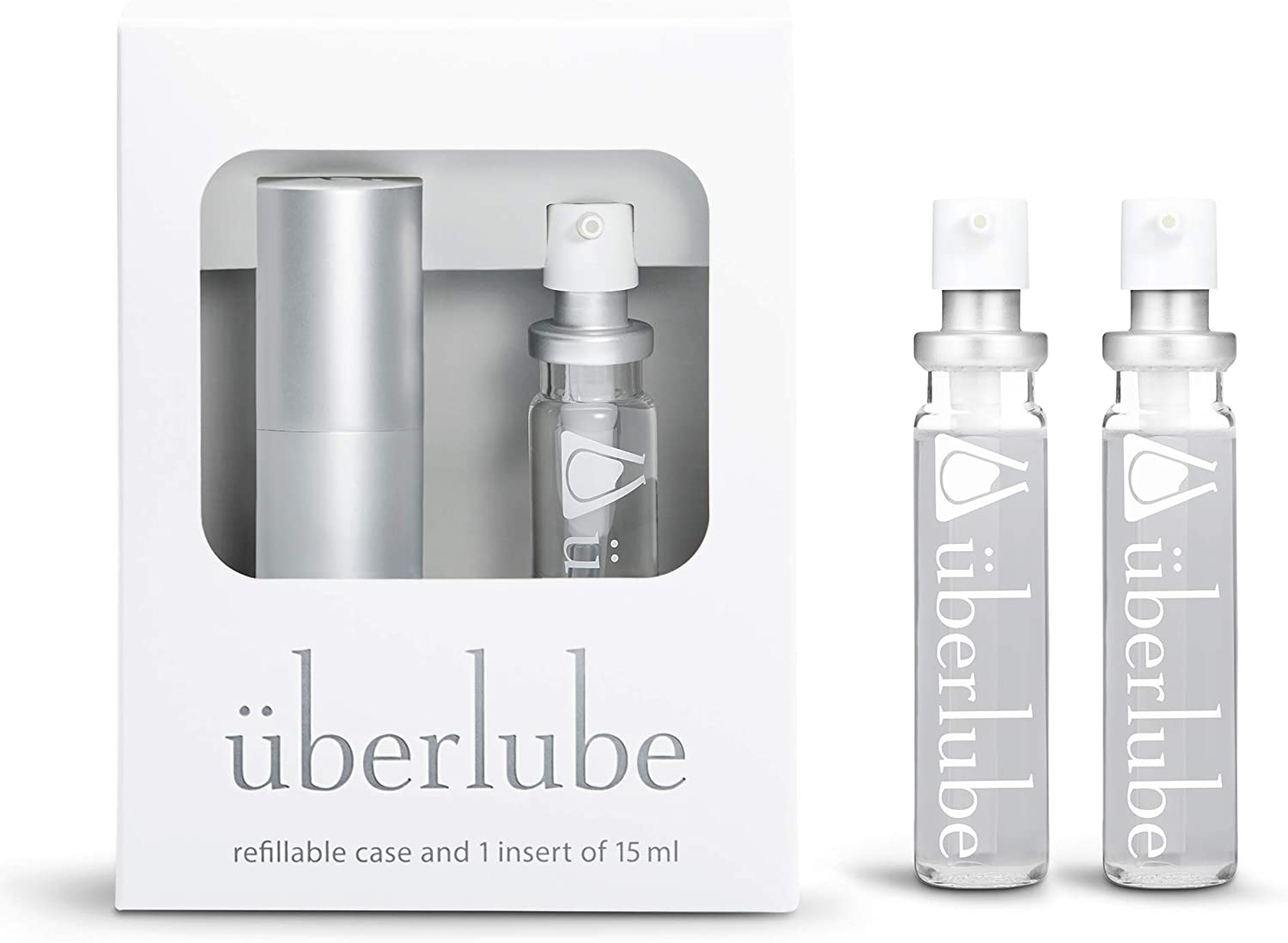 Überlube Good-to-go Travel Lube Set + Two Refills   Latex-Safe Natural Silicone Lube for Sex with Vitamin E   Unscented, Flavorless, Zero Residue, Works Underwater Silver Kit+ 2 Refills (45ml Total) : Health & Household