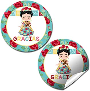 Frida Kahlo Fiesta Themed Birthday Thank You Sticker Labels for Kids, 40 2