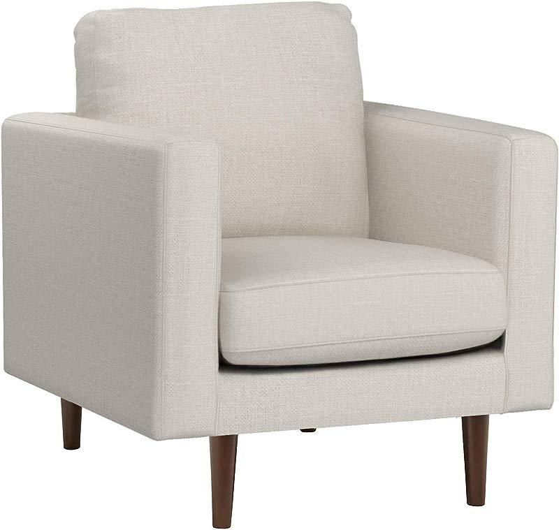 Rivet Revolve Modern Upholstered Armchair With Tapered Legs 32 7 W Linen