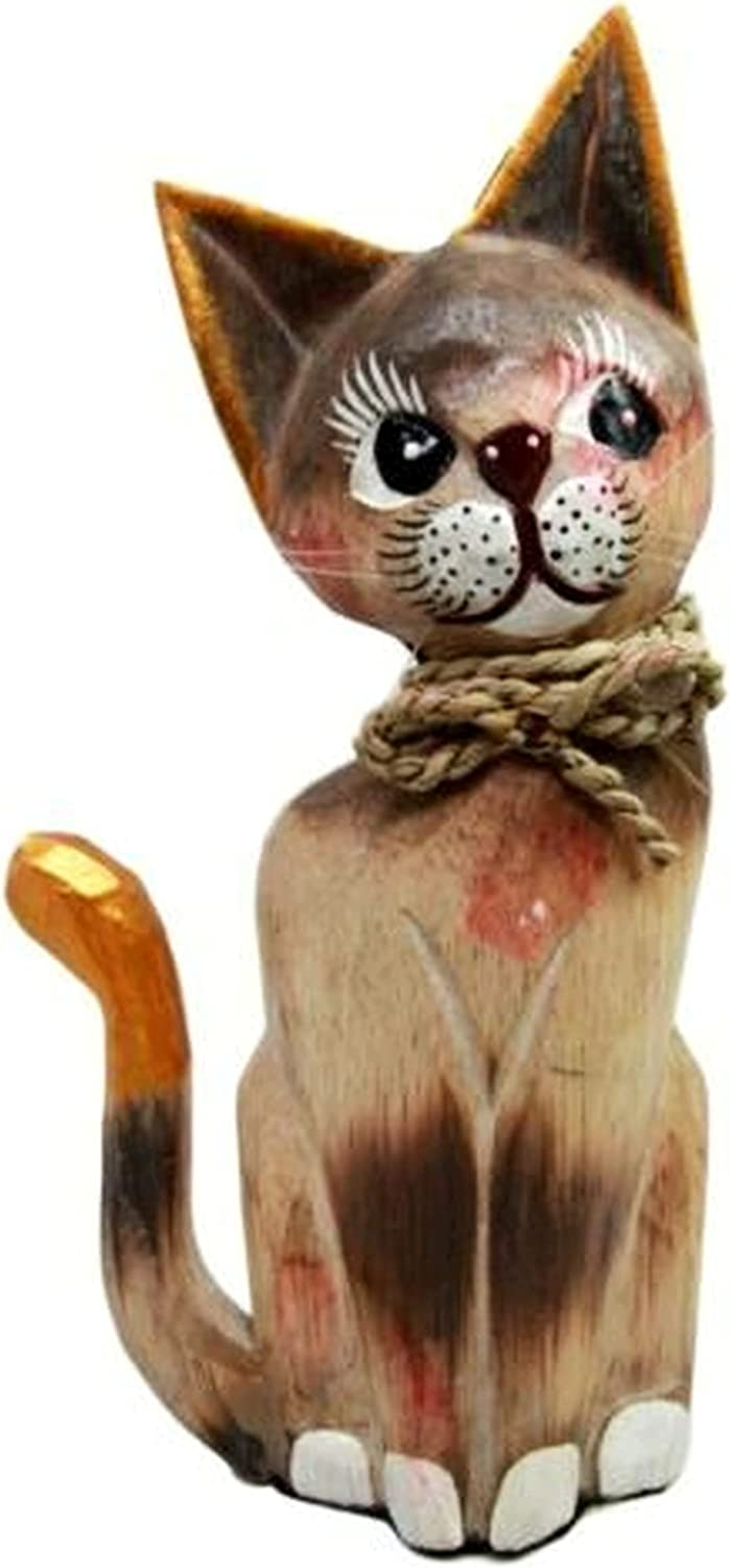 Chicago Mall New Balinese Import Wood Handicrafts Adorable with Cat Feline Rope Ribb