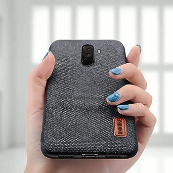 Annure Shockproof Soft TPU Bumper Fabric Back Cover Case for Xiaomi Pocophone Poco F1 (Black)