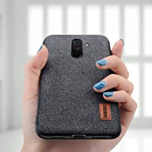 Annure Shockproof Soft TPU Bumper Fabric Back Cover Case for Xiaomi Pocophone Poco F1 (Black)