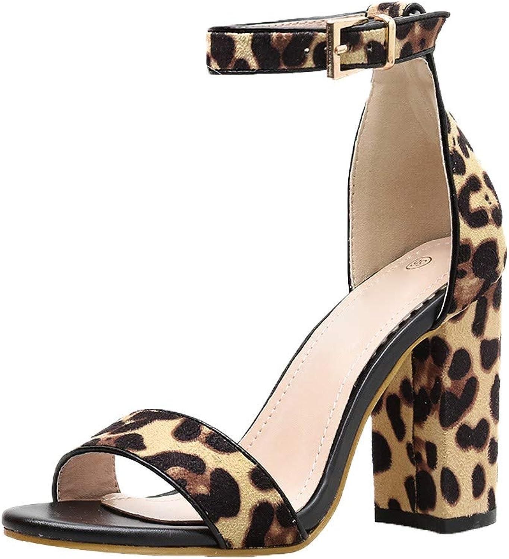 SUSENSTONE Women shoes Peep Toe Leopard Thick Heel Sandals
