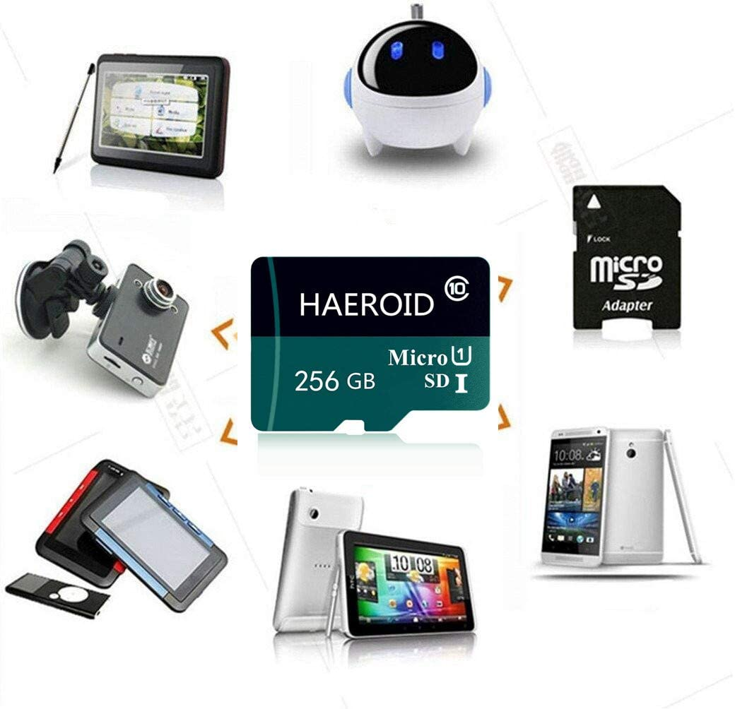 Micro SD SDXC Card 256GB High Speed Micro Memory Card Class 10 with SD Adapter for Android Smartphones