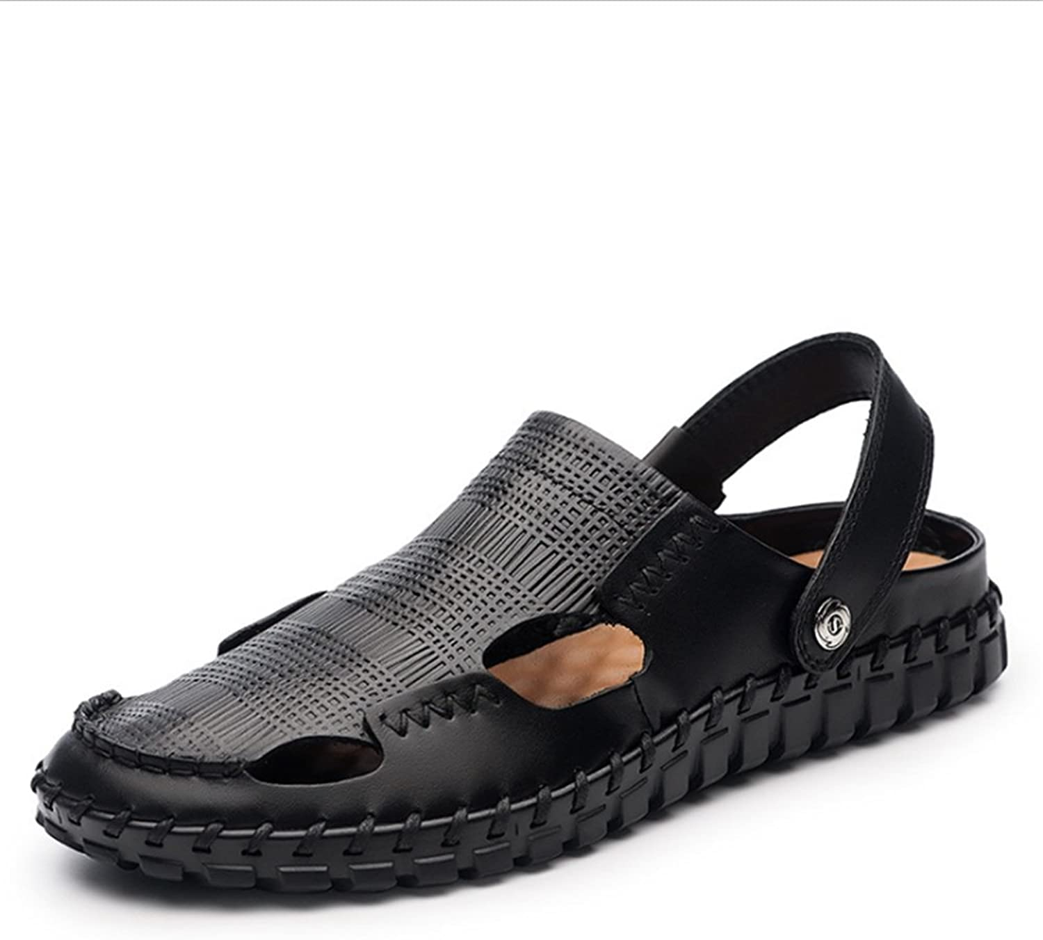 Sandal Men's Summer Casual Leather Breathable and Anti-Skid shoes (24.0-27.5) cm Anti-Skid Breathable