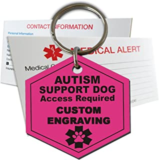 My Identity Doctor Autism Support Service Dog Tag Custom Engraved Hexagon Plastic