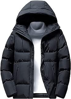 Men's Winter Parkas Jacket with Hood Winter Warm Thick Solid Down Coat Overcoat