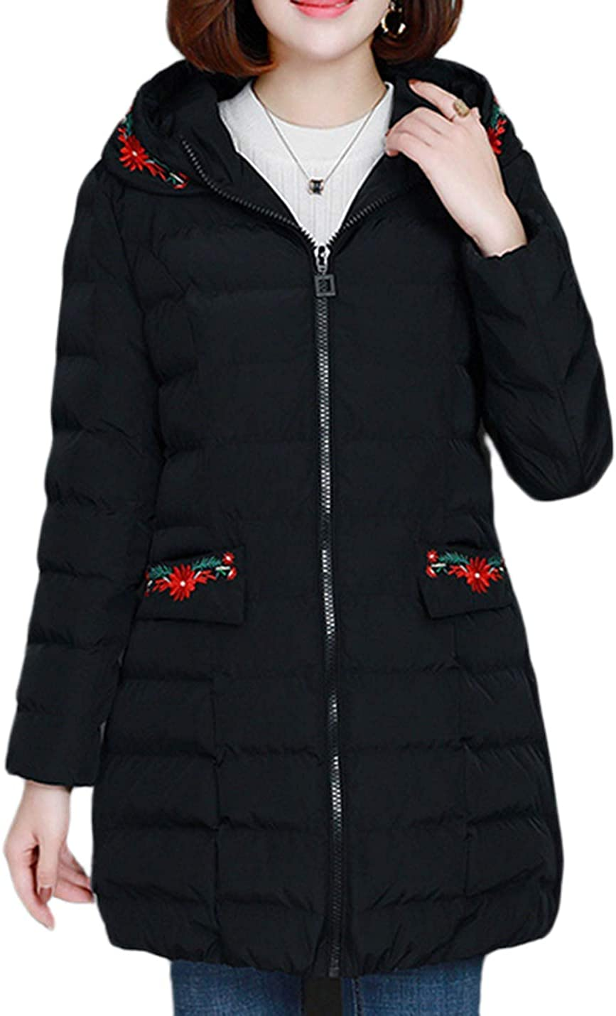 Uaneo Women's Loose Casual Thick Embroidered Hoodie Quilted Padded Puffy Parka Jackets(Black-M)