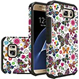 For Samsung Galaxy S7 Edge Phone Rubber Case, Hard & Soft Sturdy Durable Hybrid Dual Layer Protective Cover (Color Butterfly)