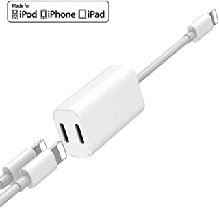 [Apple MFi Certified] iPhone Double Lightning Splitter, 2 in 1 Dual Lightning Headphone Audio & Charge Adapter Compatible for iPhone 11/11 Pro/XS/XR/X 8 7, iPad, Support Calling + Sync + Music Control