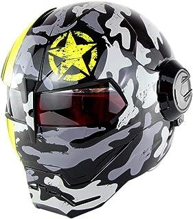 <h2>Motocross Integralhelm D.O.T zertifizierter Motorradhelm Casco Moto klappbare Maske, Iron Man Transformers Helm - M, L, XL,XL</h2>