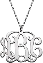 LONAGO 925 Sterling Silver Monogram Necklace Personalized Name Necklace Monogrammed Necklace Custom Name Initial Necklace for Women Girls