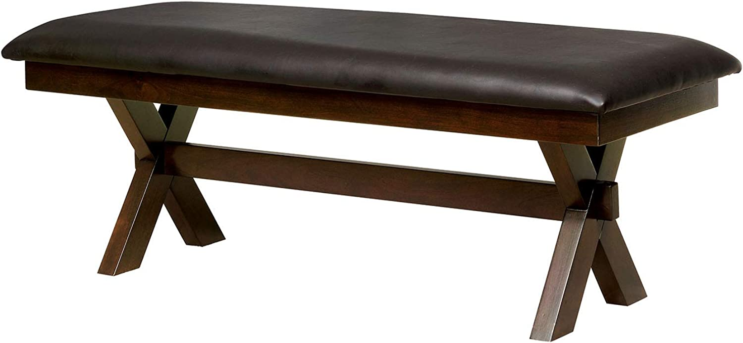 Benzara BM183250 Leatherette Upholstered Wooden Bench, Brown