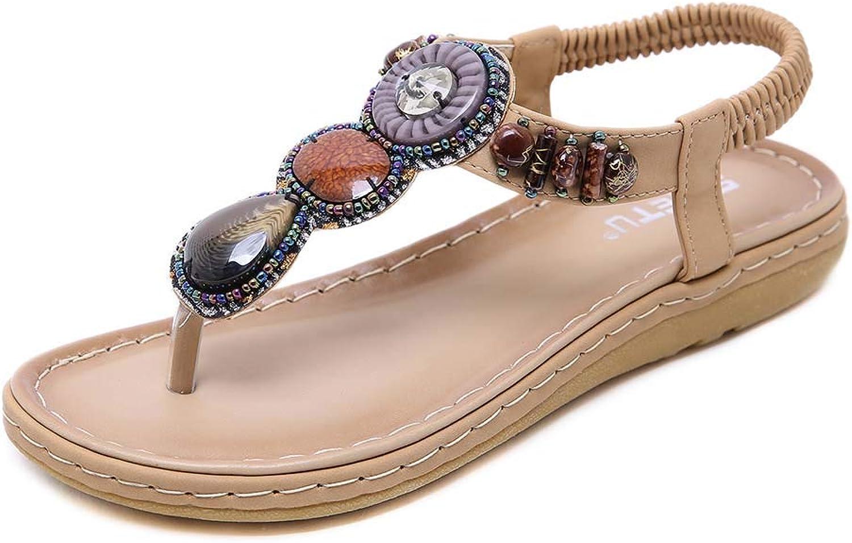 Women's Elastic Sparkle Flip Flops Bohemia Summer Beach Clip Toe Ankle Strap Flat Casual Sandals shoes,Apricot,39