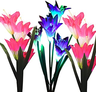 Outdoor Solar Garden Stake Lights, 3 Pack Solar Powered Flower Lights with 12 Lily Flower, Multi-Color Changing LED Solar ...