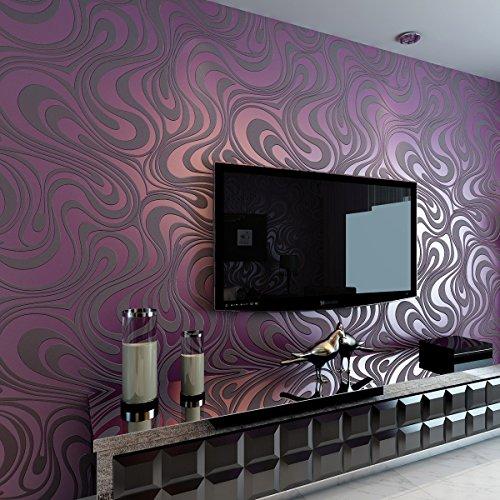 HANMERO Modern Minimalist Abstract Curves Glitter Non-Woven 3D Wallpaper for Bedroom Living Room TV Backdrop Purple, QZ0162