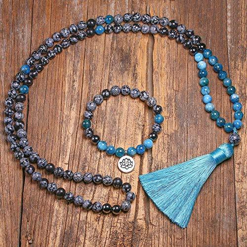 HMANE 8mm Natural Copo de Nieve Obsidiana Piedra Perlas y apatita 108 Collar para Mujeres Hombres Pulseras Establece joyería de meditación
