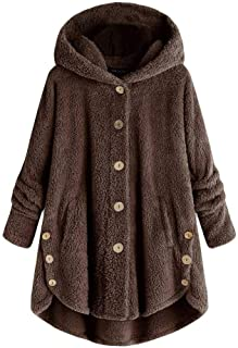 Aniywn Women Full Sleeve Button Coat Hooded Pullover Winter Oversize Loose Fluffy Pullover Sweater Coat