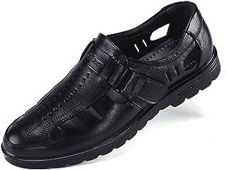 [ONE MAX] ビジネスサンダル メンズ 本革 ベルクロ 軽量 夏 通気 カジュアル ドライバー シューズ ウォーキング 紳士靴