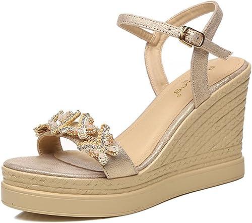 Sandales Amazing Femme Chaussures Compensées Plate-Forme Imperméable à L'eau Ouverte Strass Chaussures (Couleur   Or, Taille   EU36 UK3.5 CN35)