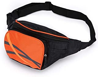 Sports Leisure Lightweight Waist Pack, Men's and Women's Large Capacity Waist Bag Adjustable Belt Durable for Hiking Outdoor Sports Etc(Size:23 * 12 * 12CM) (Color : Orange)