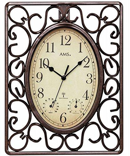 AMS Funk-Wanduhr im Retro-Look, braunes Metallgehäuse, wettergeschützt und mit Thermometer, Antike-Optik - moderne Funktechnik, Gartenuhr Uhr Außenbereich