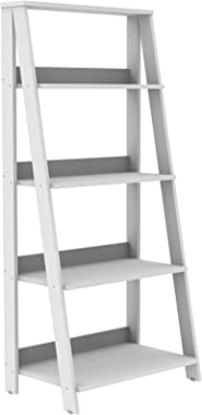 Walker Edison 4 Shelf Simple Modern Wood Ladder BookcaseTall Bookshelf Storage Home Office White55 Inch
