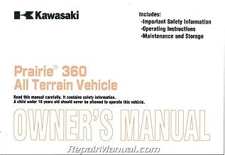 99987-1114 2003 Kawasaki Prairie KVF360-B1 ATV Owners Manual